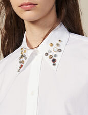 Asymmetric shirt trimmed with studs : Tops & Shirts color white
