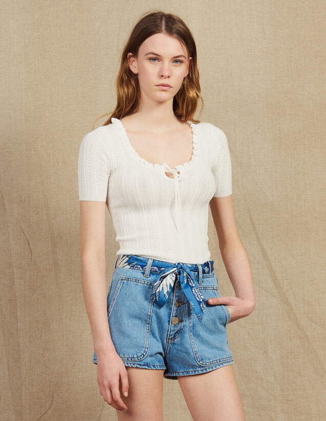 Openwork Knit Short-Sleeved Top : Sweaters color white
