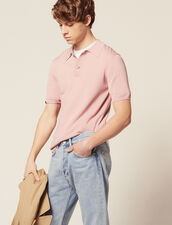 Fine Knit Polo Shirt With Short Sleeves : Sweaters color Ecru