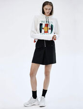 High-Waisted Skirt With Contrasting Zip : Skirts color Black