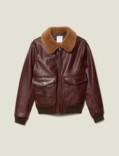 Leather aviator jacket with sheepskin : Jackets color Bordeaux