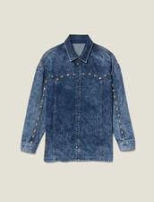 Denim Shirt Trimmed With Studs : Tops & Shirts color Midnight Blue Denim