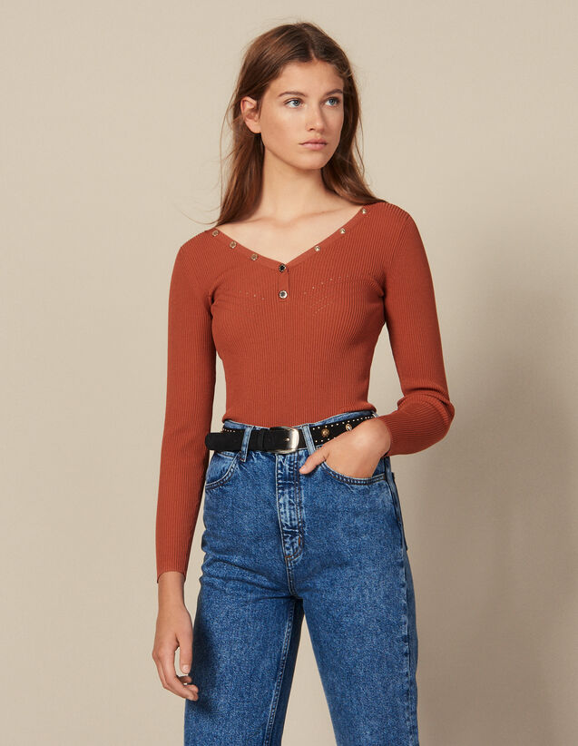 Sweater Trimmed With Branded Press Studs : New Collection color Terracotta