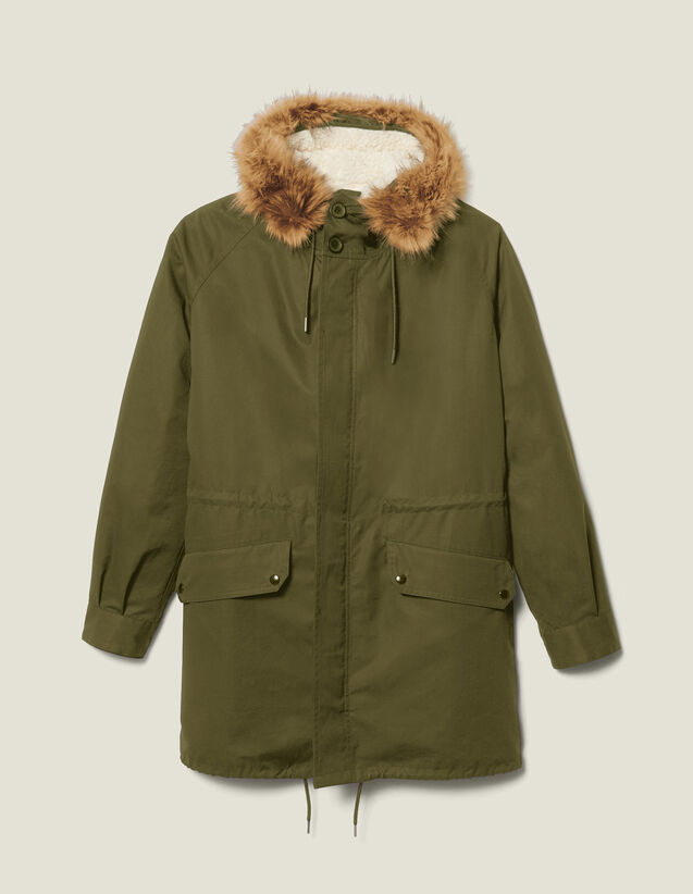 Long parka with hood : Coats color Navy Blue