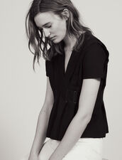Topstitched V-Neck T-Shirt : Tops & Shirts color Black