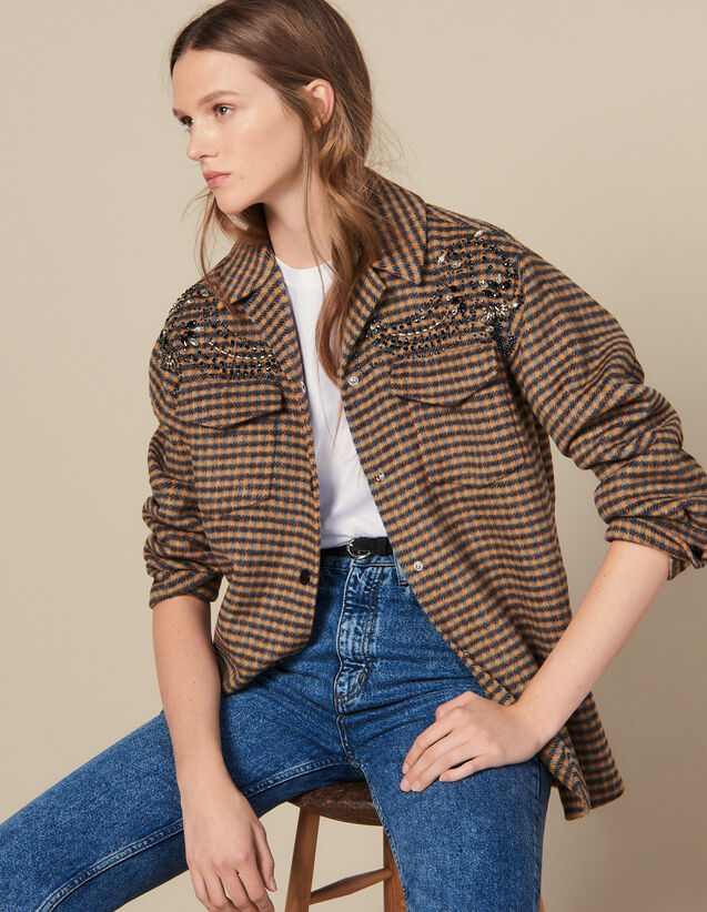Oversized Checked Shirt Jacket : Jackets color Multi-Color