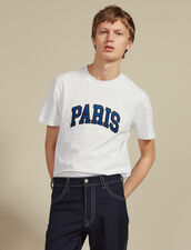 T-Shirt With Patch Lettering : T-shirts & Polos color white