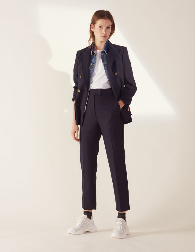 Straight-Cut Tailored Pants : Pants & Shorts color Navy Blue