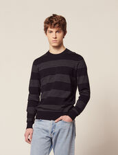 Cotton Sweater With Fine Stripes : Sweaters color Navy Blue