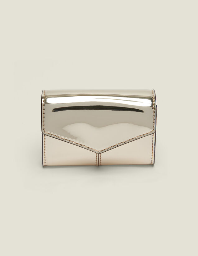 Mirror-Effect Leather Purse : Other Accessories color Gold