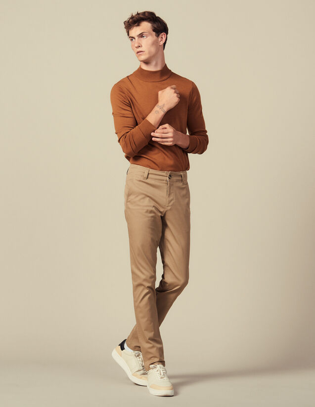 Cotton Chinos : Pants color Beige