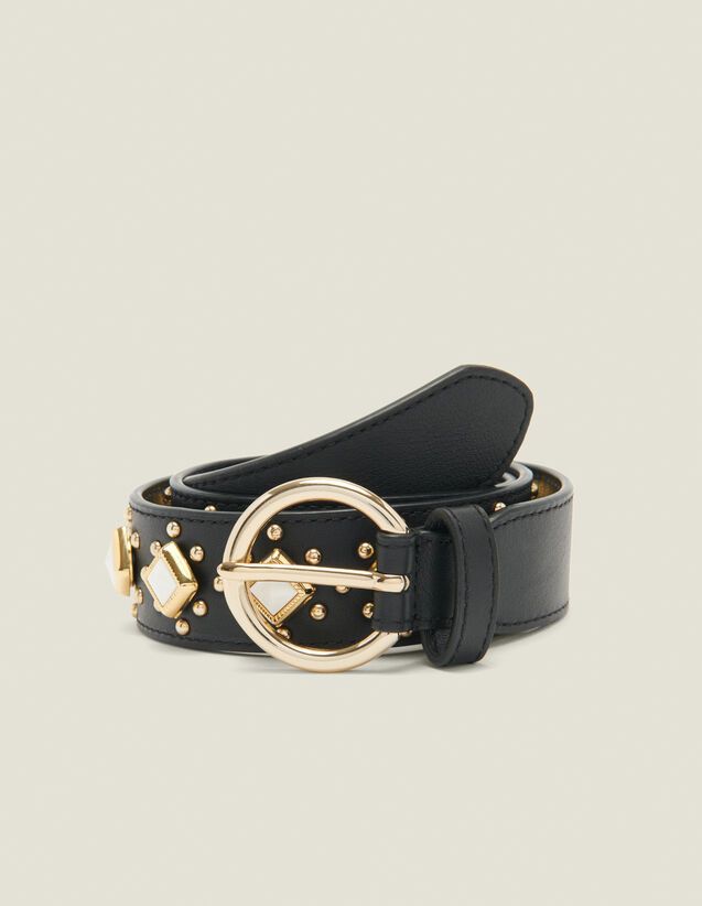 Belt with studs and acetate gemstones : Spring Pre-Collection color Black