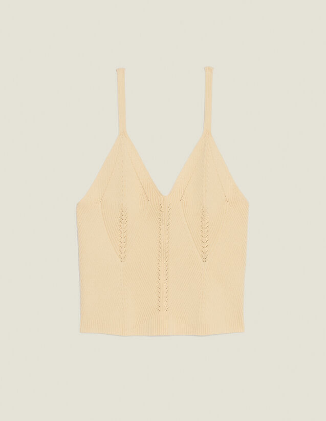Short Knit Vest Top : Sweaters color Yellow