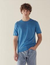 Short-Sleeved Merino Wool Sweater : Sweaters color Light Blue