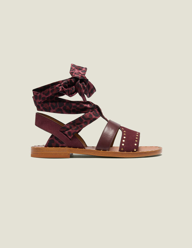 Flat Sandals With Scarf Tie Fastening : Summer Escape color Bordeaux