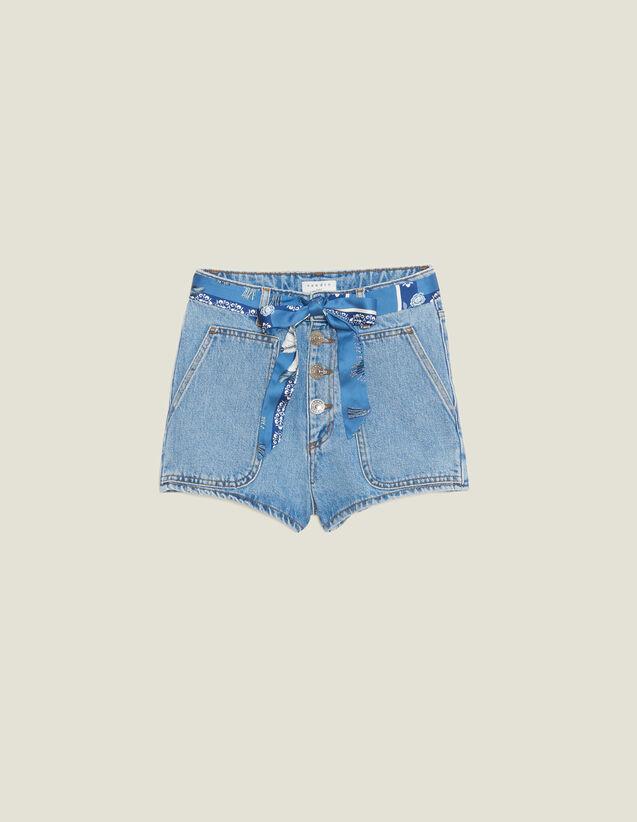 Denim Shorts With Scarf Belt : Pants & Shorts color Blue Vintage - Denim