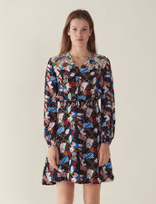 Flowing Dress With All-Over Print : Dresses color Black