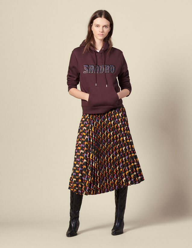 Printed pleated wraparound skirt : Skirts color Black