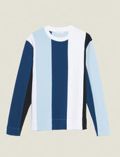Sweatshirt With Wide Contrasting Stripes : Sweatshirts color Blue