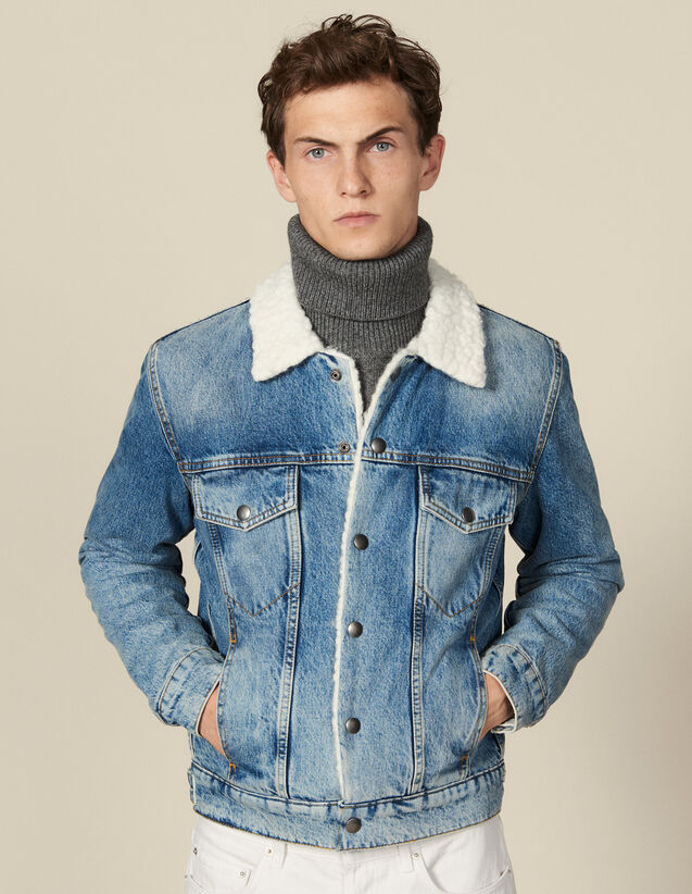 Denim jacket, faux shearling lining : Jackets color Blue Vintage - Denim