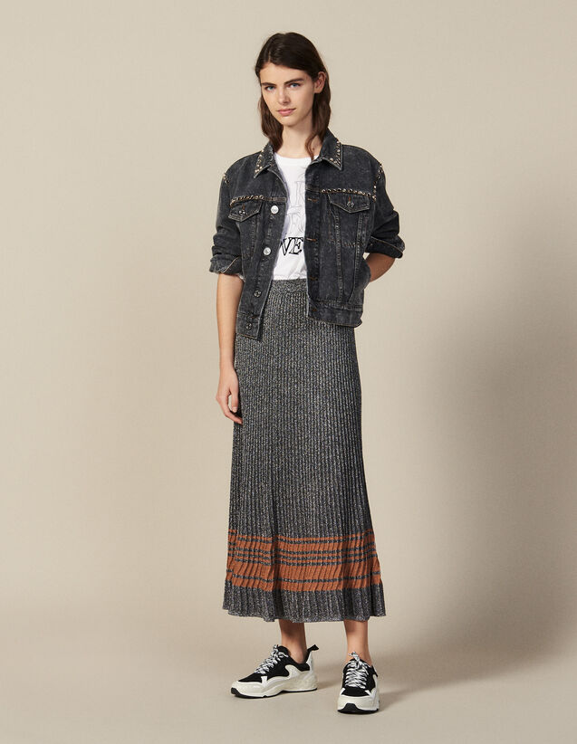 Lurex Knit Midi Skirt : New Collection color Silver