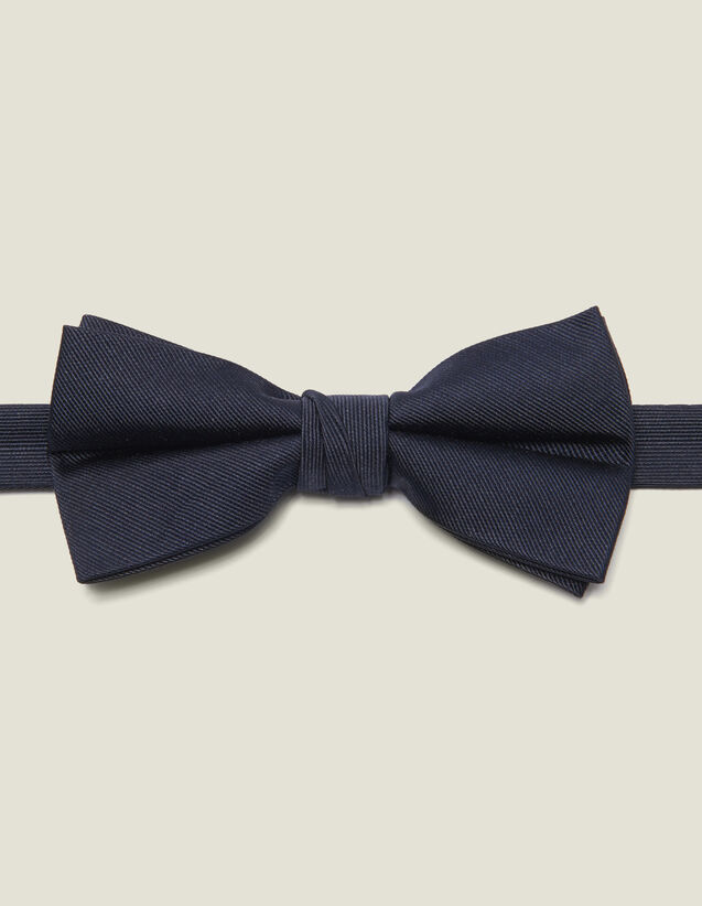 Silk twill bow tie : Belts & Ties color Navy Blue
