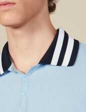 Cotton Polo Shirt With Striped Collar : T-shirts & Polos color Sky Blue
