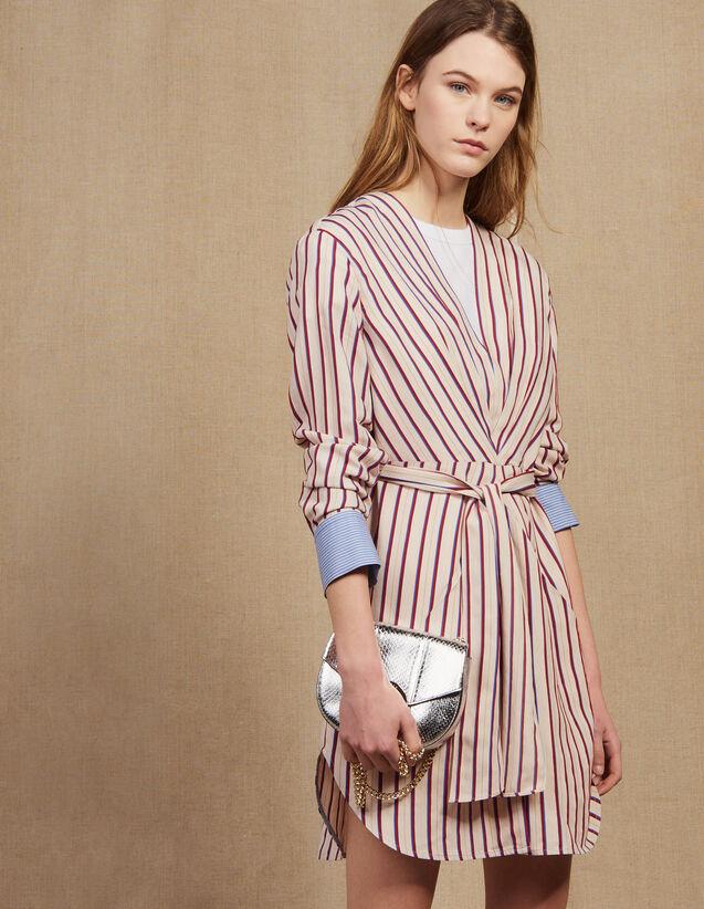 Long-Sleeved Striped Short Dress : Dresses color Bordeaux