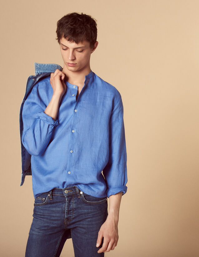 Linen Shirt With Mandarin Collar : Shirts color Ecru