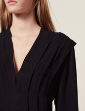 Short Flowing Dress With Pleats : Dresses color Black