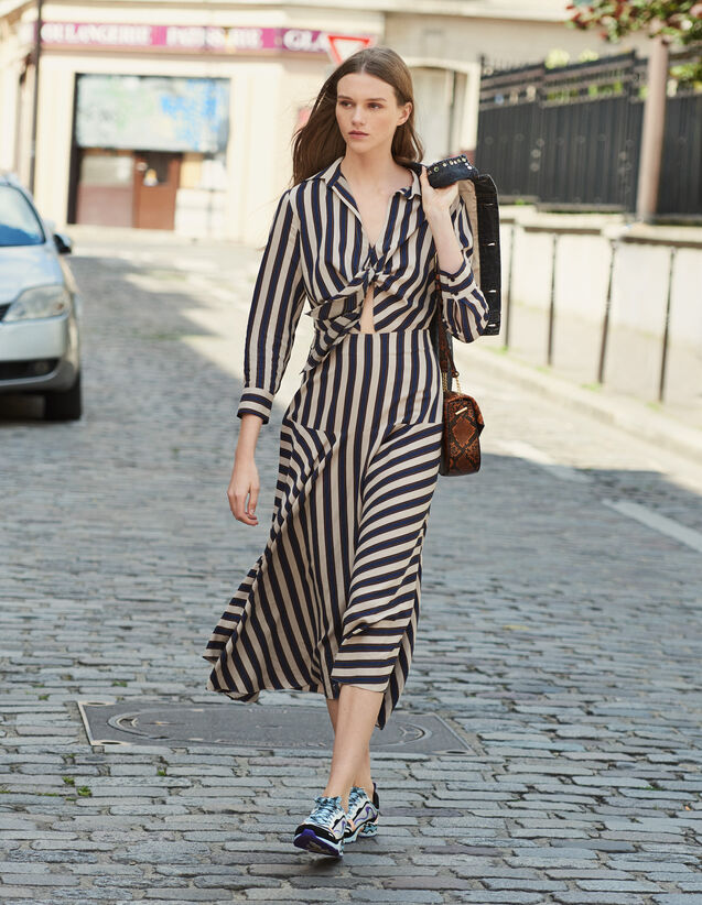 Long dress with striped design : Dresses color Beige / Blue