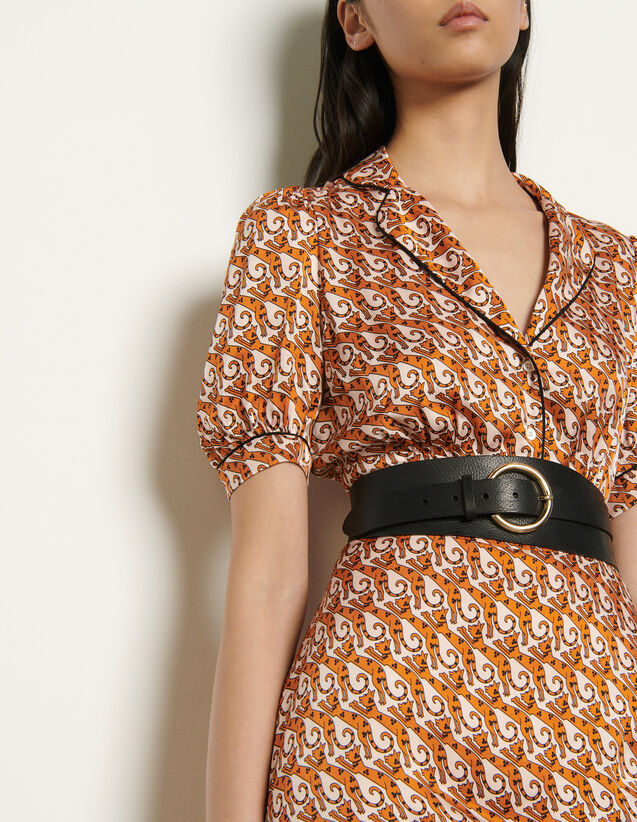 Double loop leather belt : Spring Pre-Collection color Black