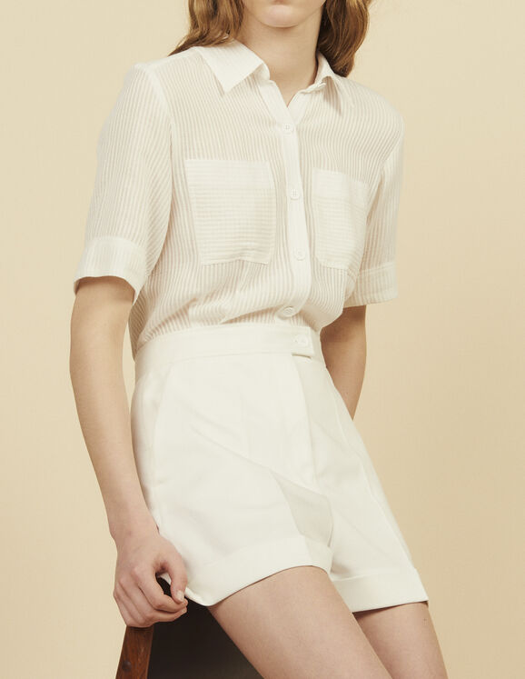 Playsuit With 2-In-1 Effect : Pants & Shorts color Ecru