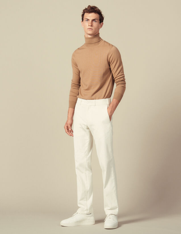 Straight-cut corduroy pants : Pants color Ecru
