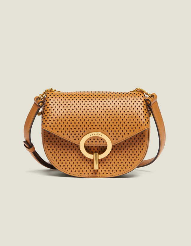 Pépita Punched Leather Bag, Small Model : Bags color Camel