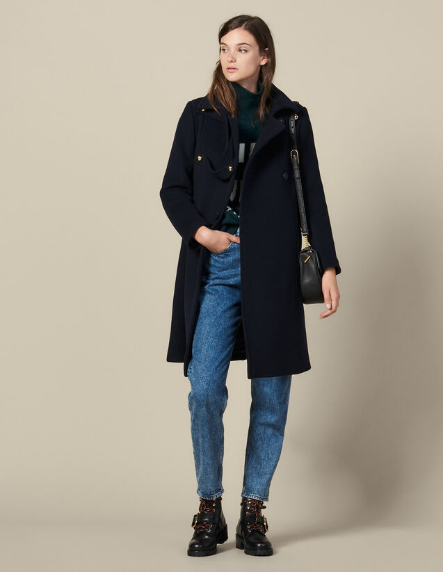 Military wool blend coat : Coats color Navy Blue