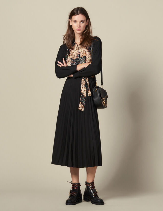 Long pleated dress : Dresses color Black