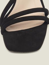 Low-Heeled Leather Sandals : Shoes color Black
