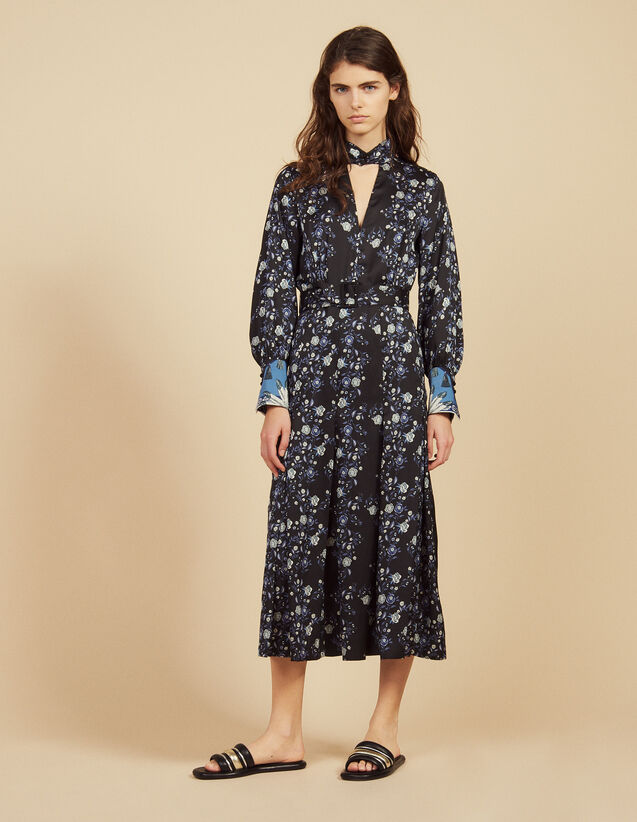 Printed Midi Dress With High Neck : Dresses color Blue