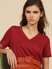 Short-Sleeved Linen T-Shirt : Tops & Shirts color Terracotta
