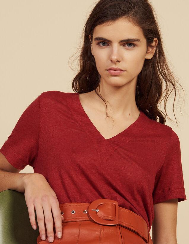 Short-Sleeved Linen T-Shirt : Tops & Shirts color Terracotta