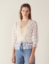 Lace Blouse With 3/4 Length Sleeves : Tops & Shirts color white
