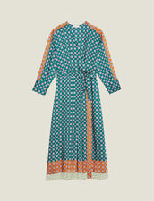 Patchwork Printed Long Dress : Dresses color Green