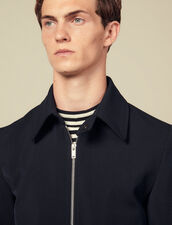 Zipped jacket in wool : Jackets color Navy Blue