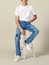 Destroyed Cotton Slim-Fit Jeans : Jeans color Blue Vintage - Denim