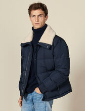 Padded jacket with wide fur collar : Coats color Navy Blue