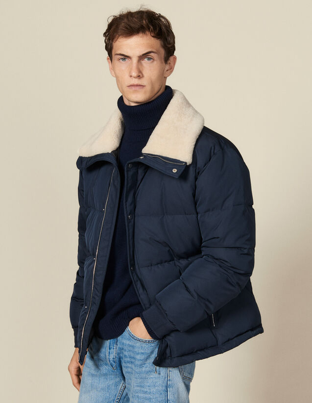 Padded jacket with wide fur collar : Jackets color Navy Blue