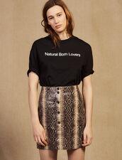Short Python Print Leather Skirt : Skirts color Python
