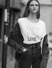 Cotton T-Shirt With Lettering : Tops & Shirts color white