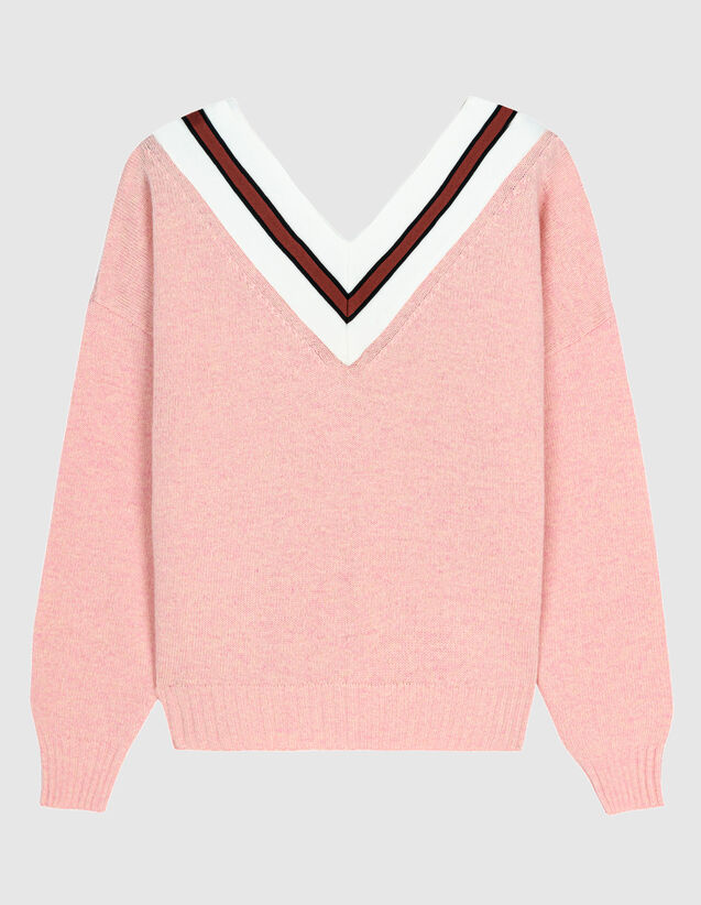 Sweater With Contrasting Stripes : Sweaters color Pink